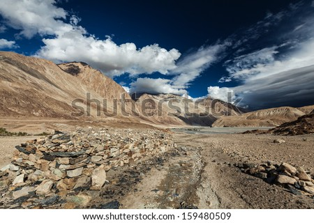Himalayan landscape in Nubra valley in Himalayas. Ladakh, India