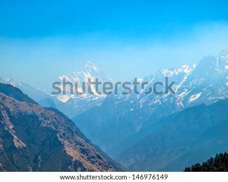 Himalayan landscape in the early morning, India. - stock photo