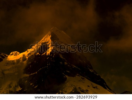 Himalayan mountain landscape in the Everest Region of the Himalayas, Nepal. - stock photo