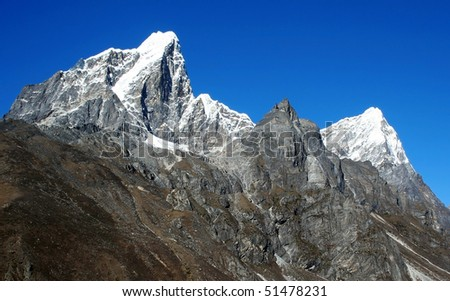 Himalayan mountain landscape, Nepal, Everest Region - stock photo