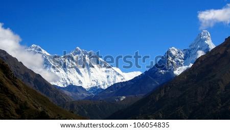Himalayan mountain landscape, Nepal, Everest Region, Mt. Everest - Lhotse range - stock photo