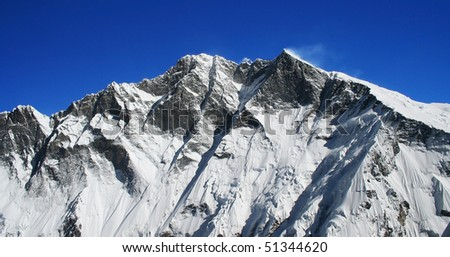Himalayan mountain landscape, Nepal, Everest Region, Mt. Lhotse range - stock photo