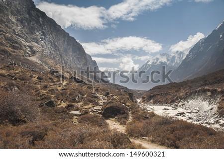 Himalayan mountain range seen from Lang tang, Nepal.  - stock photo