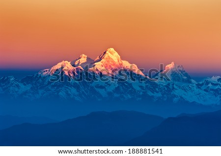 Himalayan Mountains View from Mt. Shivapuri, Shivapuri Nagarjun National Park - stock photo