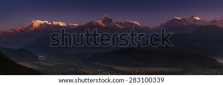 Himalayan panorama, Annapurna massif, view from Sarangkot, Nepal