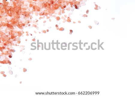 Himalayan Pink Salt isolated on white with copyspace