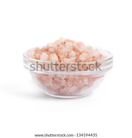 Himalayan Pink Salt on white background - stock photo