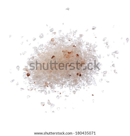 Himalayan pink salt pile isolated on white top view - stock photo