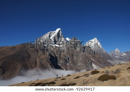 Himalayan Range, Everest trail, Nepal - stock photo