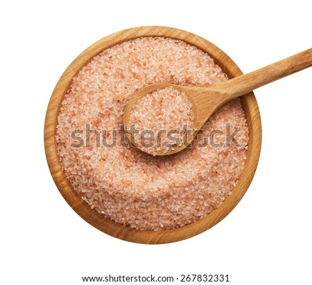 Himalayan salt on wooden bowl  isolated on white background - stock photo