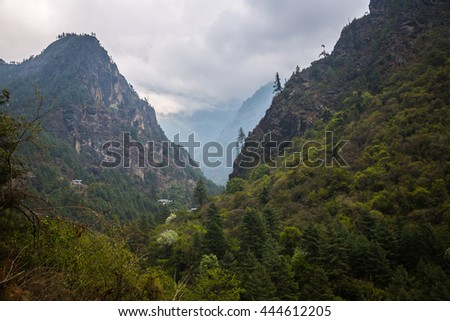 Himalayan village on the track to the Everest base camp. - stock photo