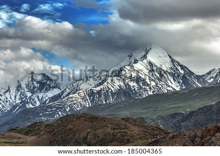 himalayas mountain in summer time - stock photo