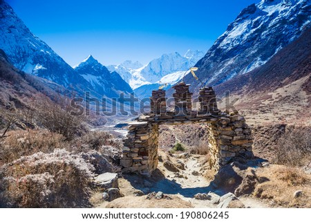 Himalayas mountain landscape. Manaslu track - stock photo