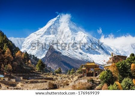 Himalayas mountain landscape. Mt. Manaslu in Himalayas, Nepal.  - stock photo