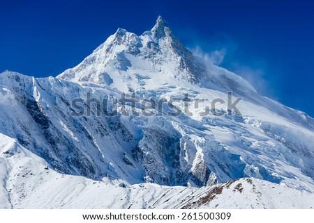 Himalayas mountain landscape. Mt. Manaslu in Himalayas, Nepal.  - stock photo