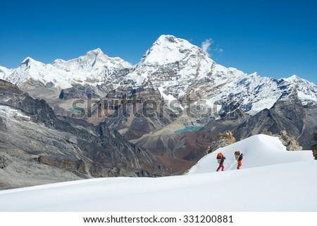 Himalayas mountain range from Mera Peak High Camp - stock photo