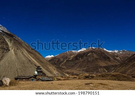 Himalayas night view. himalaya mountain with star in night time  - stock photo