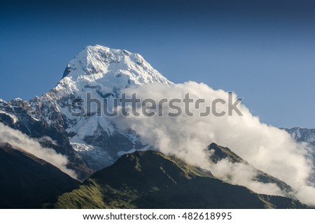 Himalayas range Mountain nature background landscape cloudy