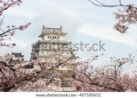 Himeji Castle and full cherry blossom, One of Japan's premier historic castles, Japan - stock photo