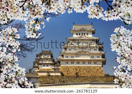 himeji castle during cherry blossom time for adv or others purpose use - stock photo