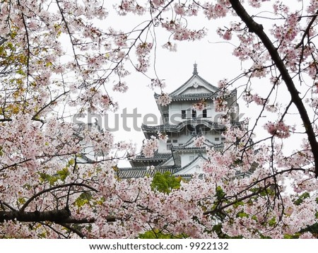 Himeji Castle near Kobe in Japan is probably the most beautiful and most famous of all Japanese Castles. As example of Japanese medieval castle architecture, it became world heritage. - stock photo