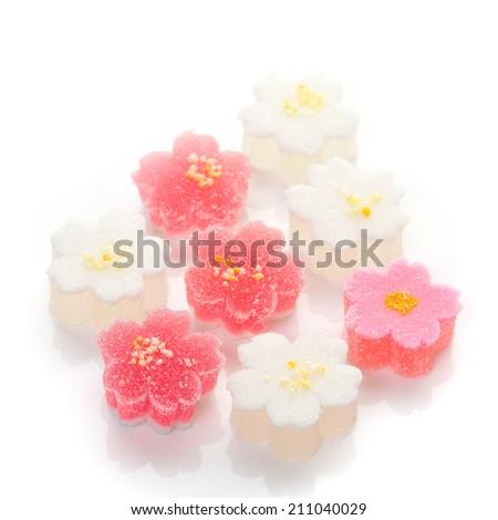 "Hinamatsuri (Girls' Day) seasonal ""wagashi"" flower-shaped Japanese sweets  - stock photo"