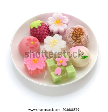 "Hinamatsuri (Girls' Day) seasonal ""wagashi"" Japanese sweets  - stock photo"
