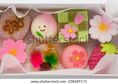 "Hinamatsuri (Girls' Day) seasonal ""wagashi"" Japanese sweets in a box - stock photo"