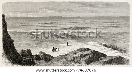 Hindia lake old view, Babylonia. Created by De Bar after Lejean, published on Le Tour du Monde, Paris, 1867 - stock photo