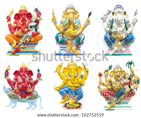 Hindu ganesha God Named Maha Ganapati at temple in thailand - stock photo