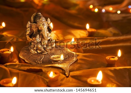 Hindu God Ganesh at Diwali Festival - stock photo