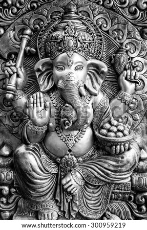 Hindu God Ganesh black and white style - stock photo