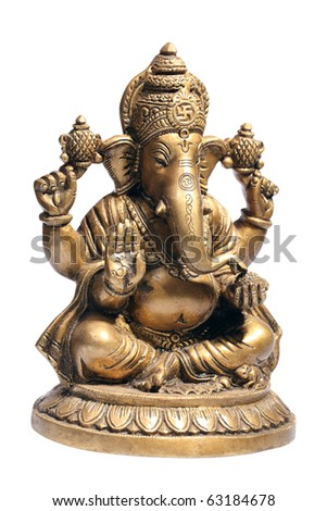 Hindu God Ganesh isolated on white with clipping path - stock photo
