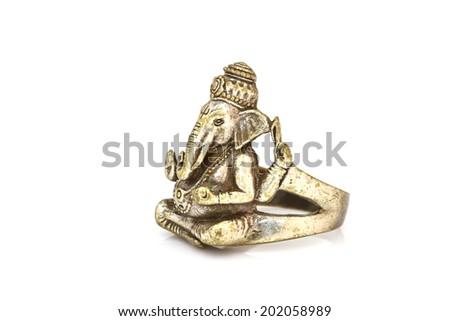 Hindu God Ganesh ring Statue on white - stock photo