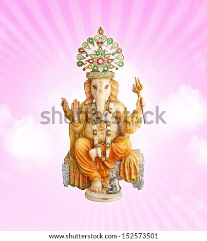 Hindu God Ganesha on pink sky background  - stock photo