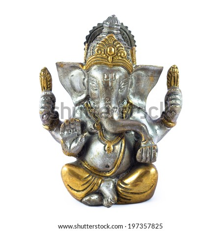 Hindu God Ganesha over a white background - stock photo