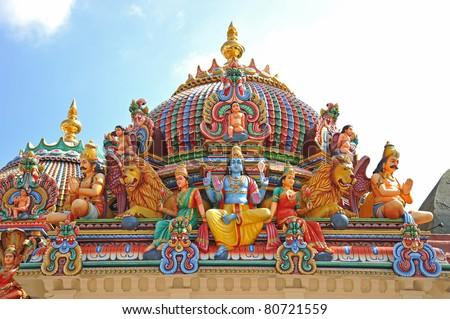 Hindu God Statues At A Hindu Temple - stock photo