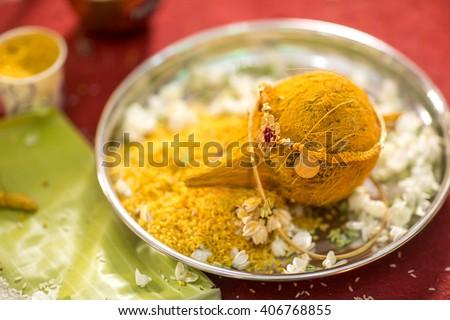 Hindu Indian wedding ceremony - stock photo