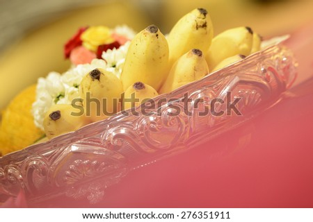 Hindu Indian wedding ceremony in a temple - stock photo