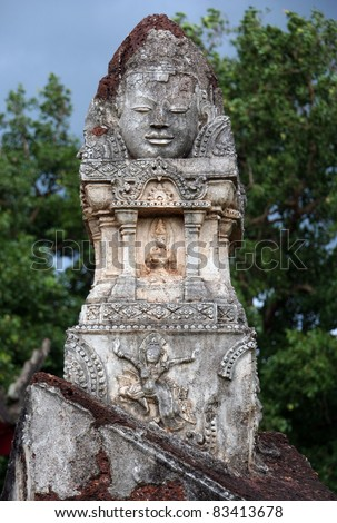 Hindu phallic symbol of creative power in Sri Satchanalai historical park, Northern of Thailand. - stock photo