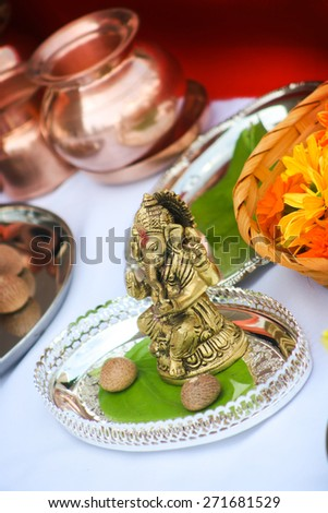 Hindu religion items ready for ritual of Mother Earth before building an object - stock photo