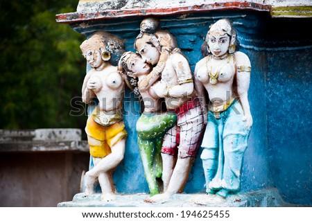 Hindu religious art. Ancient statue pantheon of Gods at Temple gopura (tower) facade. South India, Tamil Nadu - stock photo