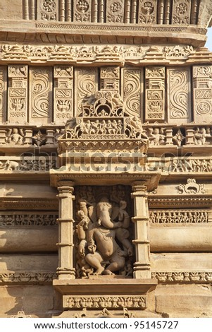 Hindu temple, bas relief of the god Ganesh