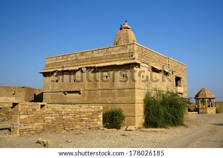 Hindu temple in abandoned village of Kuldhara in Rajasthan,Thar desert, India,Asia