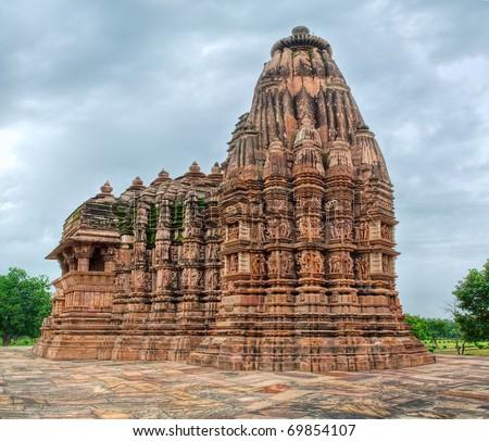 Hindu temple in Khajuraho, Madhya Pradesh, India - stock photo