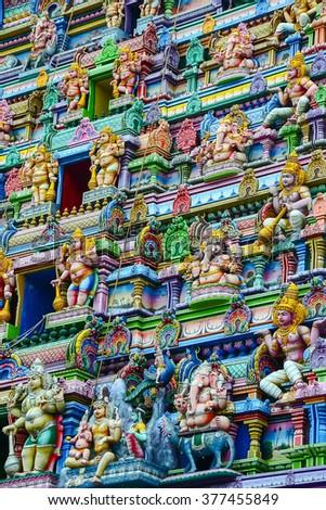 Hindu temple in Victoria, Mahe, Seychelles - stock photo
