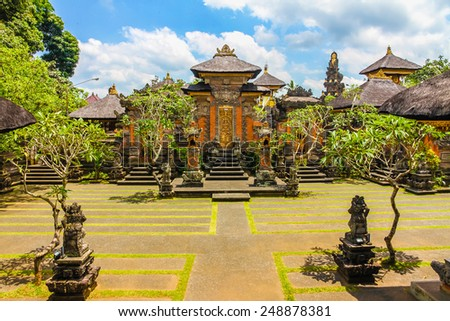 Hindu temple near Ubud with blue sky and clouds-  Bali, Indonesia - stock photo