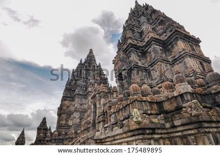 Hindu temple Prombanan complex in Yogjakarta in Java, indonesia - stock photo