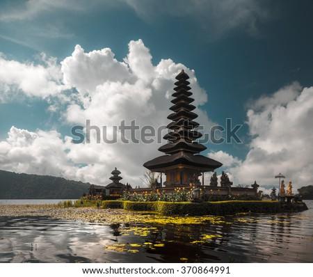 Hindu temple Ulun Danu Bratan on the lake of Bratan. Bali, Indonesia - stock photo