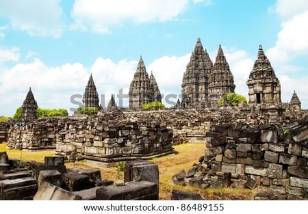 Hinduism Prambanan temple, central java, indonesia - stock photo